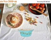 SALE Tea Towel: Vintage Pyrex Clover Berry Flour Sack Tea Towel Gold and Turquoise