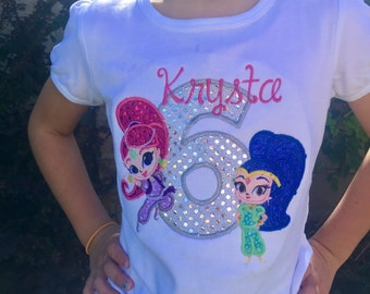 Ari's Angels Personalized Girls shimmer, shine genie Birthday,  Shirt Embroidered, Appliqued, Monogrammed