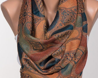Pashmina Fall Scarf. Gift Brown and colorful Scarf. Oversize Christmas scarf. Fashion accessories oversize shawl.