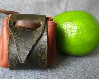 Chestnut. Small Medicine bag. Leather Amulet bag, Medicine neck pouch.