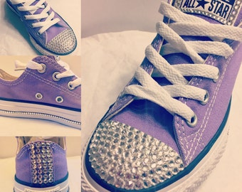 Lilac purple bling swarovski crystal converse size 12 youth