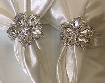ELEGANT NAPKIN RINGS, Set of 8 Custom Crystal Holiday Napkin Rings, Fancy Napkin  Rings