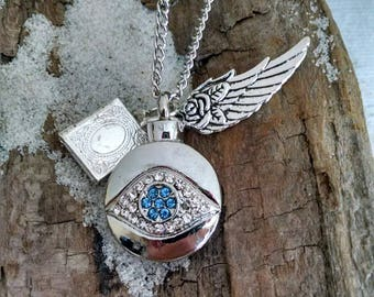 Memorial Cremation Urn, with Mini Locket and Feather Charm