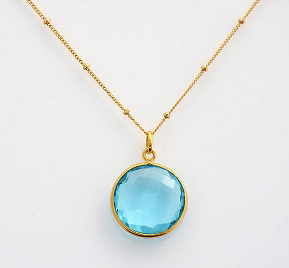 Blue Topaz Necklace December Birthstone Necklace Custom