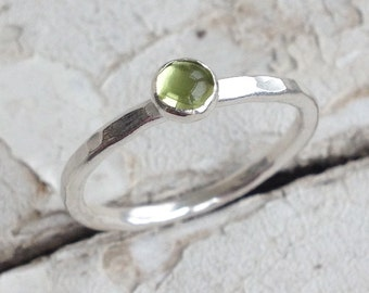 Sterling Silver Ring With Peridot. Stacking Ring, August Birthday, Hammered Texture, Peridot Ring, Sterling Silver, Handmade, UK FREEPOST