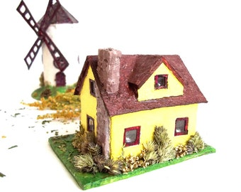 SALE - 10% off! Miniature House . Mini House Paper Sculpture. Paper House Art Ornament. Eco Friendly House. Unique Gift.
