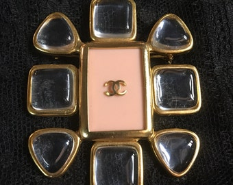 Vintage Chanel lucite and rock crystal brooch Spring 1996