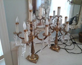 Pair of vintage electric candelabra with prisms