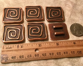 10mm Large Square Spiral Copper Slider 6 Pieces