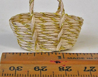 Handmade Dollhouse Miniature White and Gold Cord Tote Basket with Handles in 1:12 Scale
