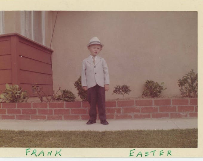 """Vintage Snapshot Photo: """"Frank, Easter. [1st. Suit and Hat""""] c1960s (73557)"""