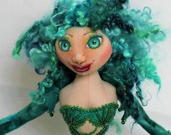"""Cloth Art Doll Mermaid """"Amatheia"""""""