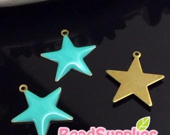 CH-EX-08160ER- Puffy Star charm, erinite, 6 pcs