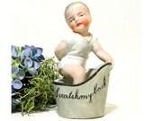 Antique German Bisque Figurine Scratch My Back Child in Bathtub