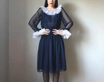 Vintage Sheer Navy Ruffle Collar Dress