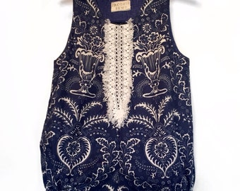 Navy and Ivory Romper with Lace Trim Made to Order for age 6 months through 3 T