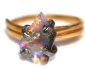 Black Opal Ring Raw Opal Ring Free Form Ring Black Opal Jewelry Prong Set Opal Ring Dark Opal Black Gold Ring Raw Stone Ring Flashy Ring