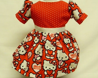 Valentine Hello Kitty Dress  For 18 Inch Doll Like The American Girl
