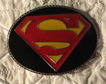 """Vintage Superman Belt Buckle for Your Favorite Man or Belt Buckle Collection, 4 1/2"""" Long X 3 1/4"""" Wide, Brillant Red, Navy, Yellow"""