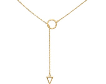 Lariat Necklace Y Shaped 14 Karat Gold on Sterling Silver Layered Necklace Delicate Jewelry for Women