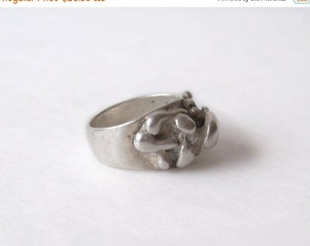 Silver Modern Retro Ring 1970s Modernistic Size 6
