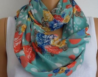 Christmas Gift Holiday Gift Scarf, New Chiffon Scarf Floral Infinity Scarf Gift for Her Women Scarf Accessories for Women Floral Infinity