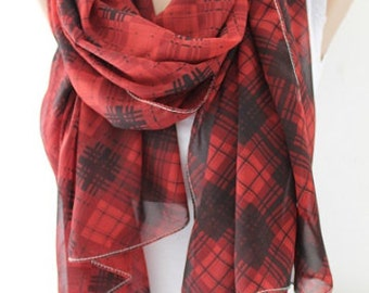 Scarf Christmas Gift Holiday Gift Scarf Red Plaid Scarf Chiffon Scarf Gift for Her Last Minute Gift Winter Fashion