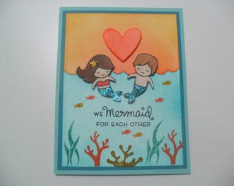 Anniversary/Love Card - Mermaid Card - We Mermaid for Each Other - BLANK Inside