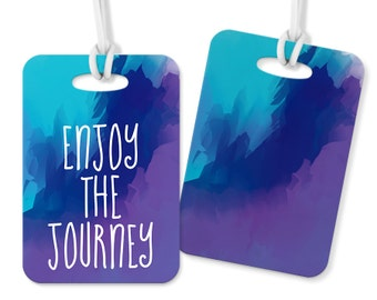Enjoy the Journey Metal Double Sided Luggage Tag