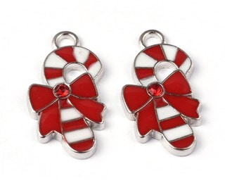 4 Pieces Red & White Enamel Christmas Candy Cane Charms