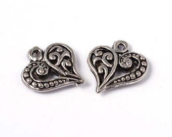 5 pieces Antique Silver Filigree Heart Charms