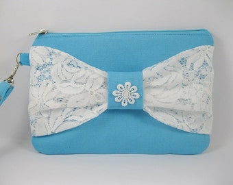 SUPER SALE - Blue with White Lace Bow Clutch - Bridal Clutches, Bridesmaid Wristlet, Wedding Gift - Made To Order