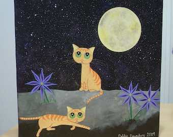 FREE SHIPPING! Original cat painting. Orange striped tabby cats in the moonlight with purple flowers 12 x 12