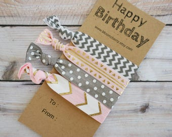 4 pcs set Happy Birthday Hair Ties -Pink/Gold/Gray/White Color- Assorted Print Hair Tie -Birthday Party/Party/Gift- Hair Ties Gift