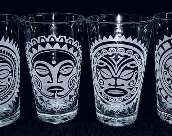 Etched Tangaroa Tiki Drinking Glasses (Set of 4 Different Designs)
