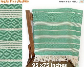 Xmas Sale Bedspread Throw Blanket Cotton Sofa Cover Turkish Furniture Throw Turkish Blanket Cotton Throw Green XX LARGE 240 x 190 cm