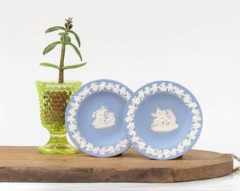 Pair of Antique Wedgewood Jasperware Blue Small Plates - Vintage Wedgewood - 1955 Wedgewood Dishes - Vintage Light Blue Wedgewood