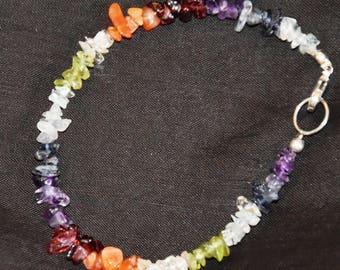 semi precious multi  gem stone chip bead  chakra   bracelet 35 cts #172