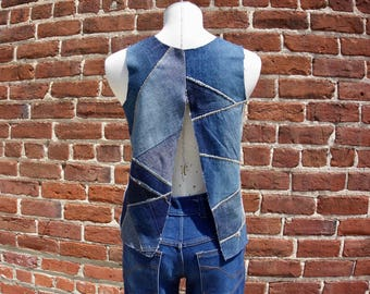 Recycled White Denim and Patchwork, open back Denim Top