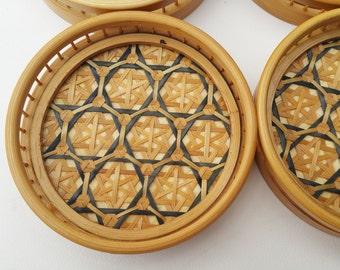 Vintage Rattan Coasters Set Of Six