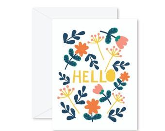 GREETING CARD   Hello : Flowers Modern Illustration Art