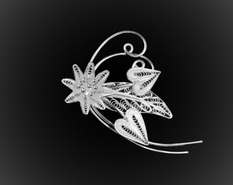 Love floral embroidery with silver brooch