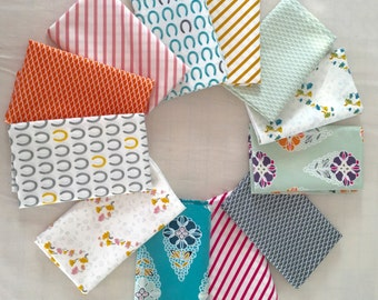 FANTASIA Fat Quarter Bundle - 12 FQs - great stripes, horseshoes and more. Nice colors!