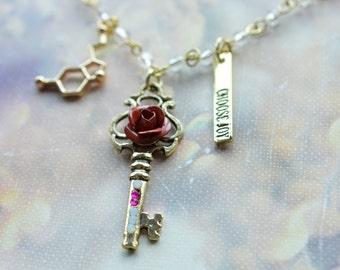 Biolojewelry-Serotonin Molecule Neurotransmitter Choose Joy Rose Key Necklace