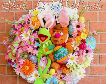 Easter Wreath, Kermit and Fozzie Muppet Easter Wreath, Spring Wreath, Disney Wreath, Easter Bunny, Fozzie Bear, Kermit the Frog