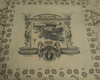 1909 Alaska Yukon Pacific Exposition of Seattle Washington antique souvenir handkerchief