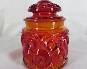 "Vintage Amberina Moon & Stars Glass Tea Canister LE Smith Small 5.25"""