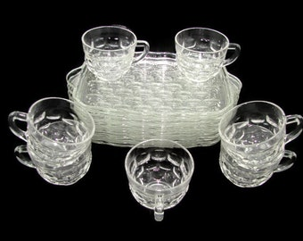 Federal Glass Yorktown Snack Set, 13 Piece Luncheon Set, Honeycomb Pattern, 6 Plates 7 Cups