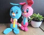 Bunny Rabbits Vintage Stuffed Animals Dream Pets Easter Basket Animals 1960s