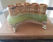 Lipstick holder, vintage, green jade, gold, on hold for GINNY!